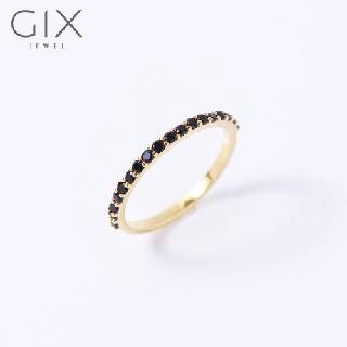 Nhẫn bạc nữ cá tính nửa hàng hột đá đen minimalism Gix Jewel SPGN16 thumbnail