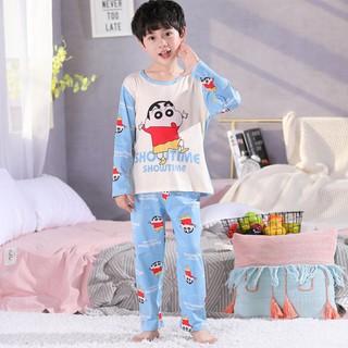 ✇Bộ đồ ngủ tay dài vải lụa mỏng thời trang xuân thu cho bé