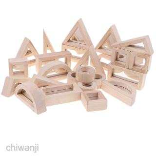Wooden Mirror Blocks Building Stacking Blocks Kids Learning Educational Toy