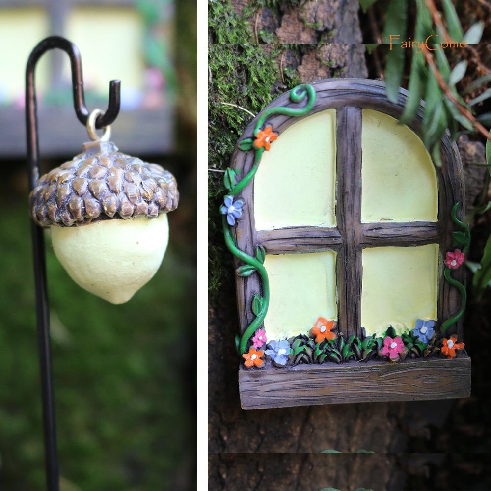 Miniature Tree Decor Fairy Garden Door and Windows Kit with Lamp Glow In The Dark Outdoor Ornament
