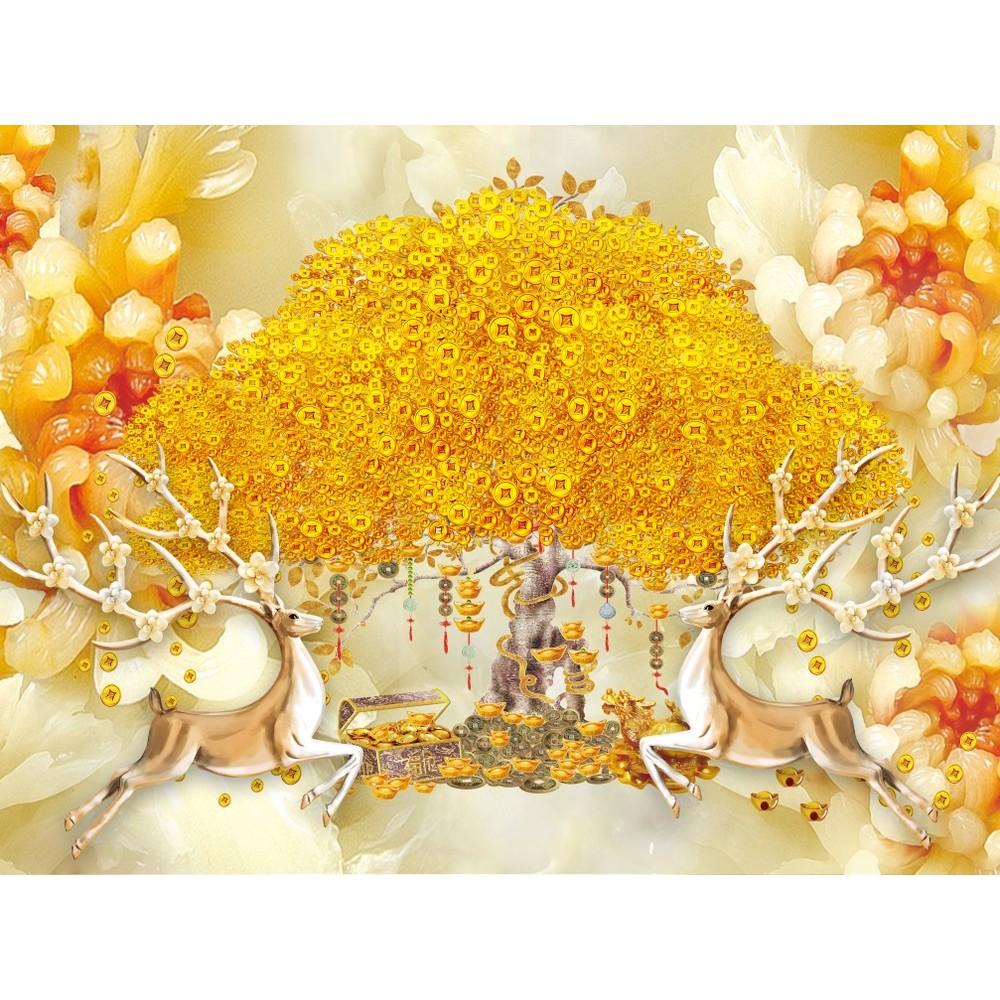 Tranh nai vàng bên hoa đồng tiền phú quý, tranh dán tường 3d hiện đại (tích hợp sẵn keo)