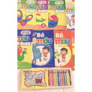 Sỉ 10 vở tập tô tặng 1 hộp bút màu sáp 12 bút