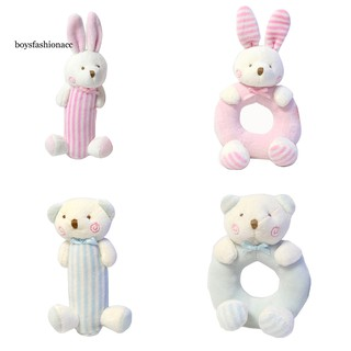 BOYS Baby Cartoon Rabbit Bear Rattle Ring Bell Kids Infant Crib Soft Hand Grasp Toy