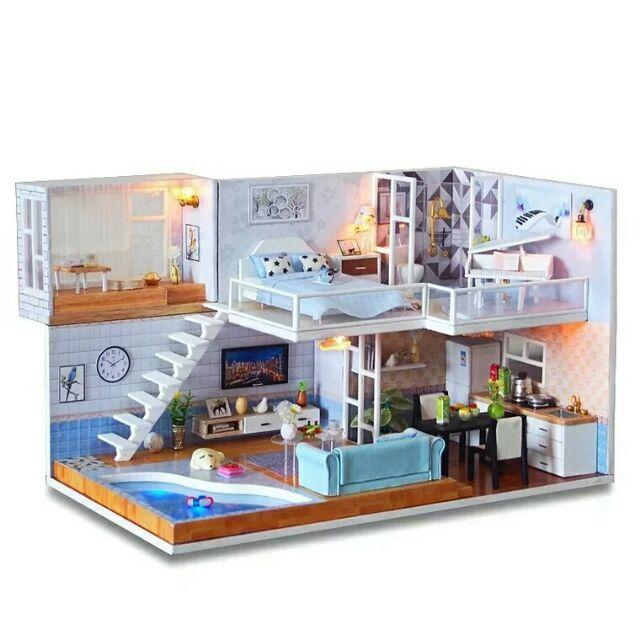 Kèm mica – Mô hình nhà gỗ búp bê dollhouse DIY – M016A Meet you