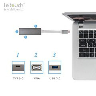 Cổng chuyển LE TOUCH USB 3.0 TYPE-C VGA Hub with Power Delivery