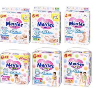 (CỘNG MIẾNG) Bỉm Merries tã dán /tã quần NB90/S82/M64/L54/M58/L44/XL38