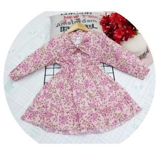 Đầm bé gái dáng xòe tay dài cổ nơ họa tiết hoa nhí form đến 28kg