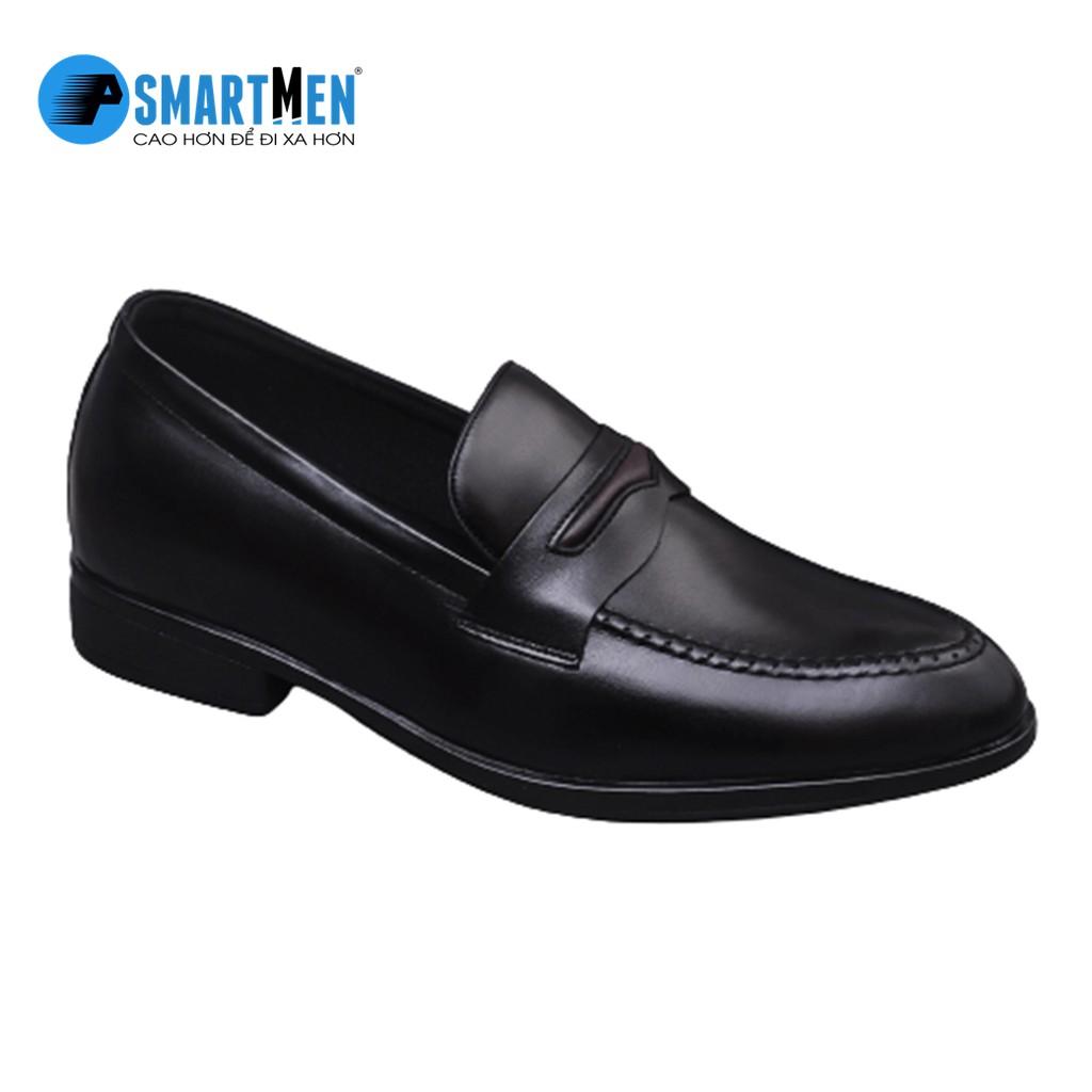 Giày lười da bò SMARTMEN tăng chiều cao màu đen GLC-29Đ