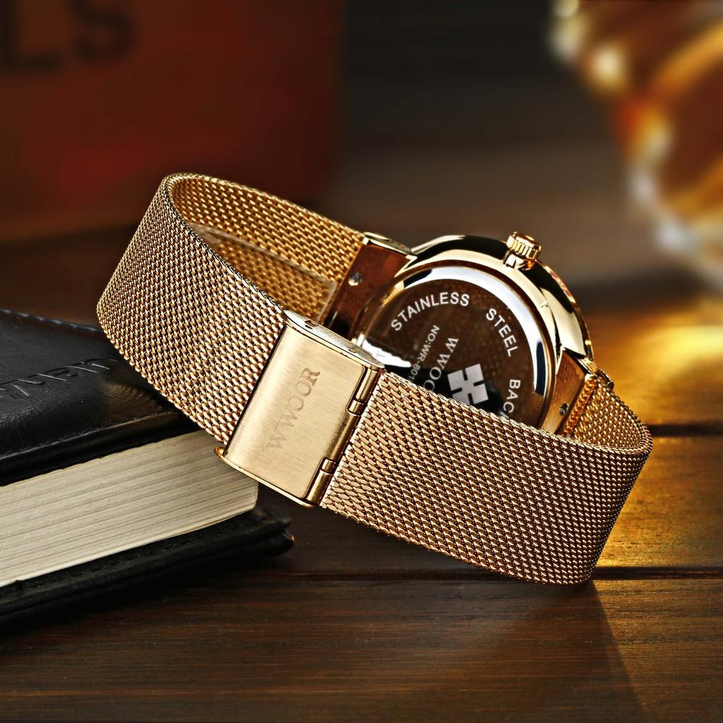 Đồng hồ Quartz WWOOR 8018 thời trang nam siêu mỏng kháng nước hiển thị lịch
