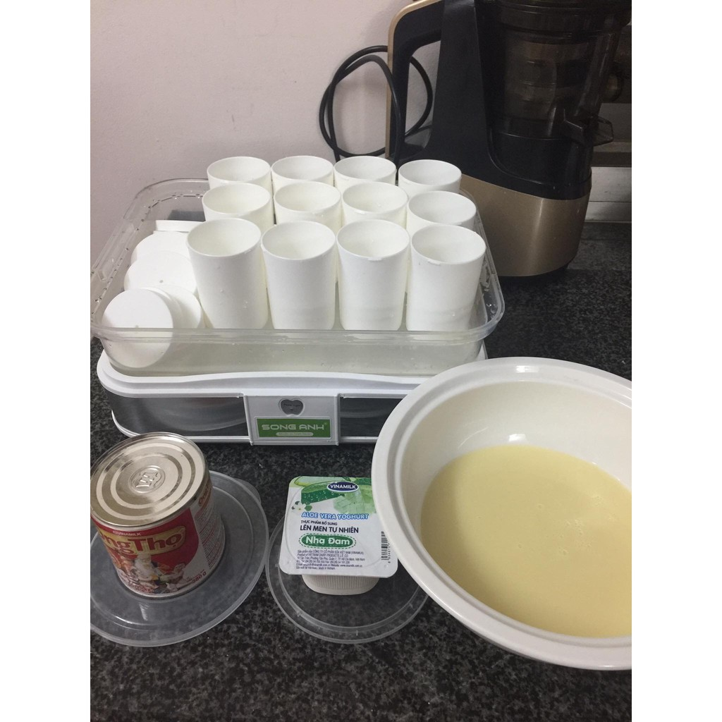 Máy làm sữa chua tự động tại nhà an toàn cao cấp tặng kèm 12 cốc tiện dụng