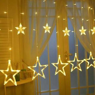 (HÀNG MỚI) Đèn Nháy Thả Mành Sao Trang Trí Hình Ngôi Sao 5M 12 Bóng LED
