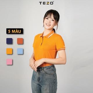 Áo polo nữ TEZO (5 màu) phối bo, chất vải cotton cao cấp, thoáng mát, hút ấm tốt, đường may tỉ mỉ 2106APCT12 thumbnail