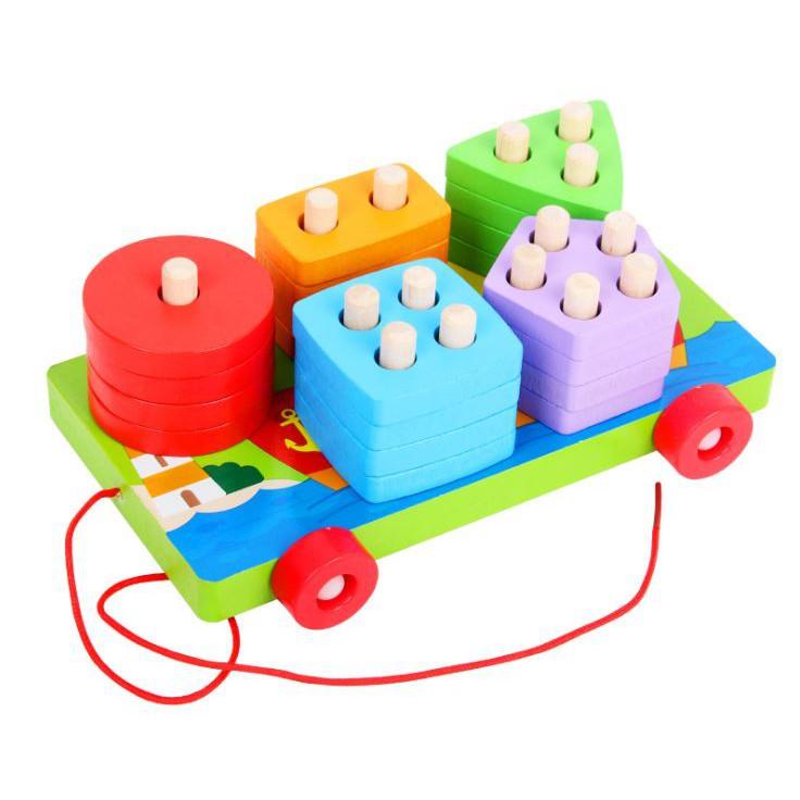 Đồ chơi Xe kéo hình khối bằng gỗ - đồ chơi giáo dục