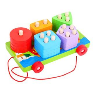 Đồ chơi Xe kéo hình khối bằng gỗ – đồ chơi giáo dục