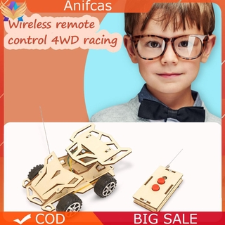 Anifcas DIY Assembled RC Racing Car Model Kit Wooden Kids Science Materials Toys