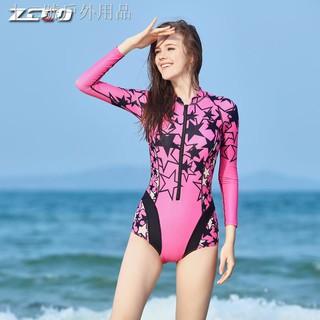 ♂◙Bộ Đồ Bơi Tay Dài Chống Nắng Thời Trang Đi Biển Cho Nữ