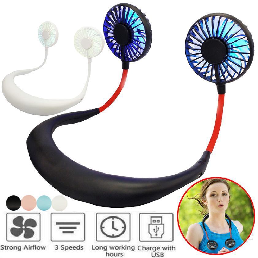 มินิ USB พัดลมส่วนตัวหูฟังแบบพกพาที่ชาร์จใหม่ได้การออกแบบหูฟังแบบสวมสายคล้องคอ 185