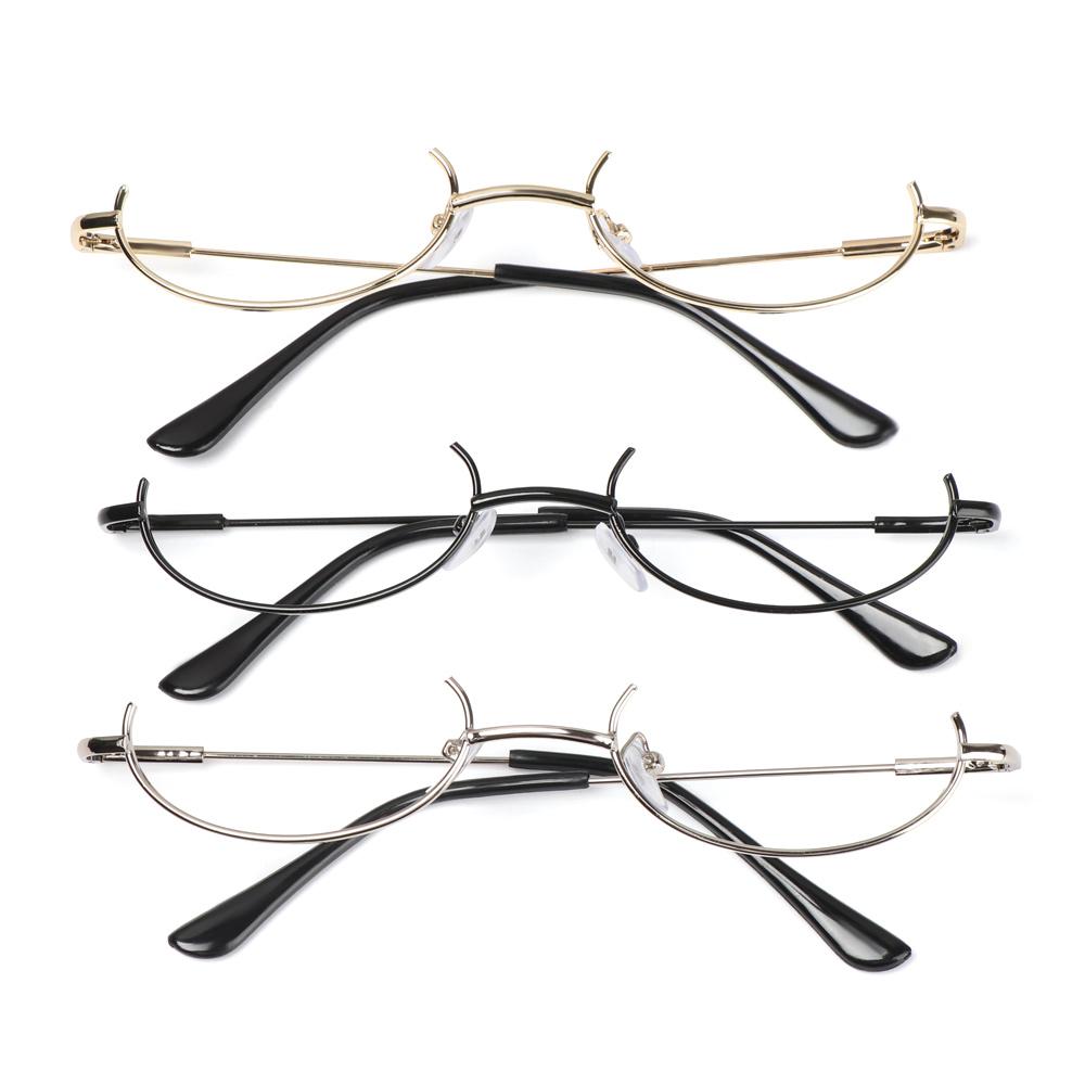 👗KAREN💍 Unisex Decoration Eyewear Cosplay Party Half Frames Glasses Frame Myopia Fashion No Lens Metal Photography Eyeglasses/Multicolor