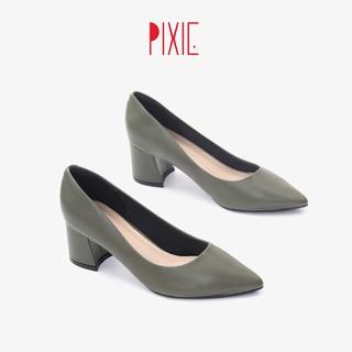 Giày Cao Gót Đế Vuông 5cm Mũi Nhọn Basic Màu Xanh Rêu Pixie P055