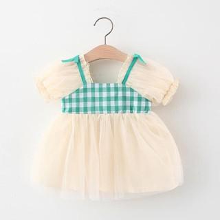 Váy ren công chúa mix kẻ màu