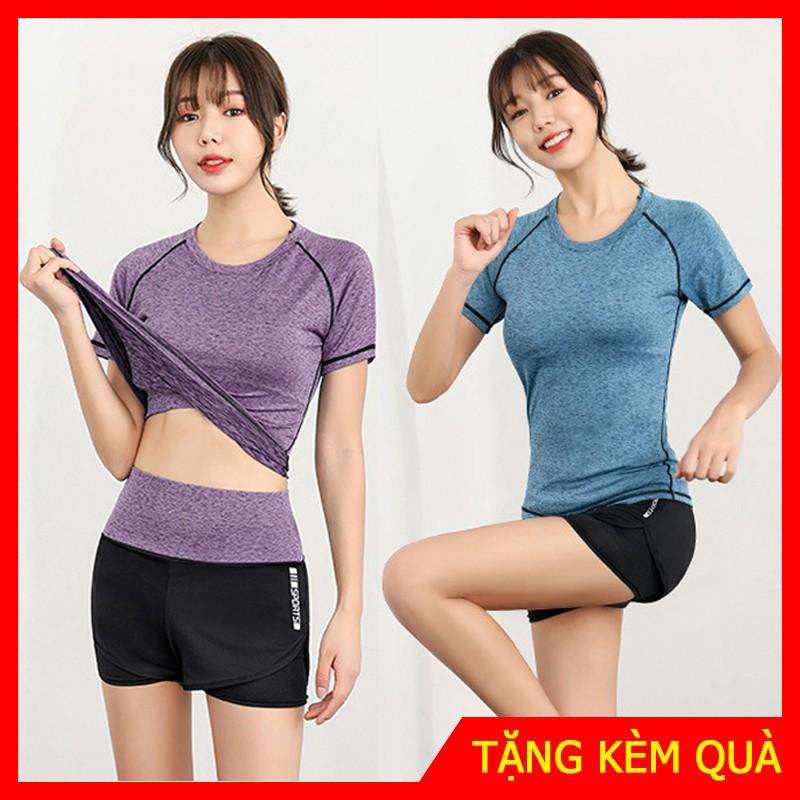 Set quần đùi và áo ngắn tay ( Bộ đồ tập Gym nữ )