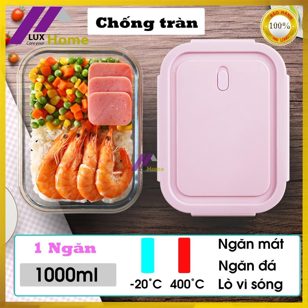 Hộp đựng thức ăn tủ lạnh 1 ngăn bằng thủy tinh chống tràn, chịu nhiệt an toàn 1000ml