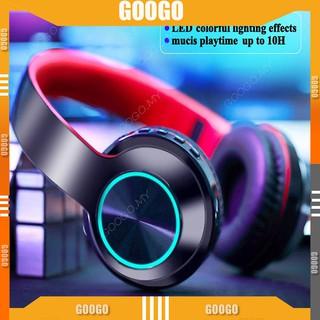 Tai nghe Bluetooth 5.0 không dây có đèn LED đầy màu sắc tương thích với thẻ SD AUX Mga