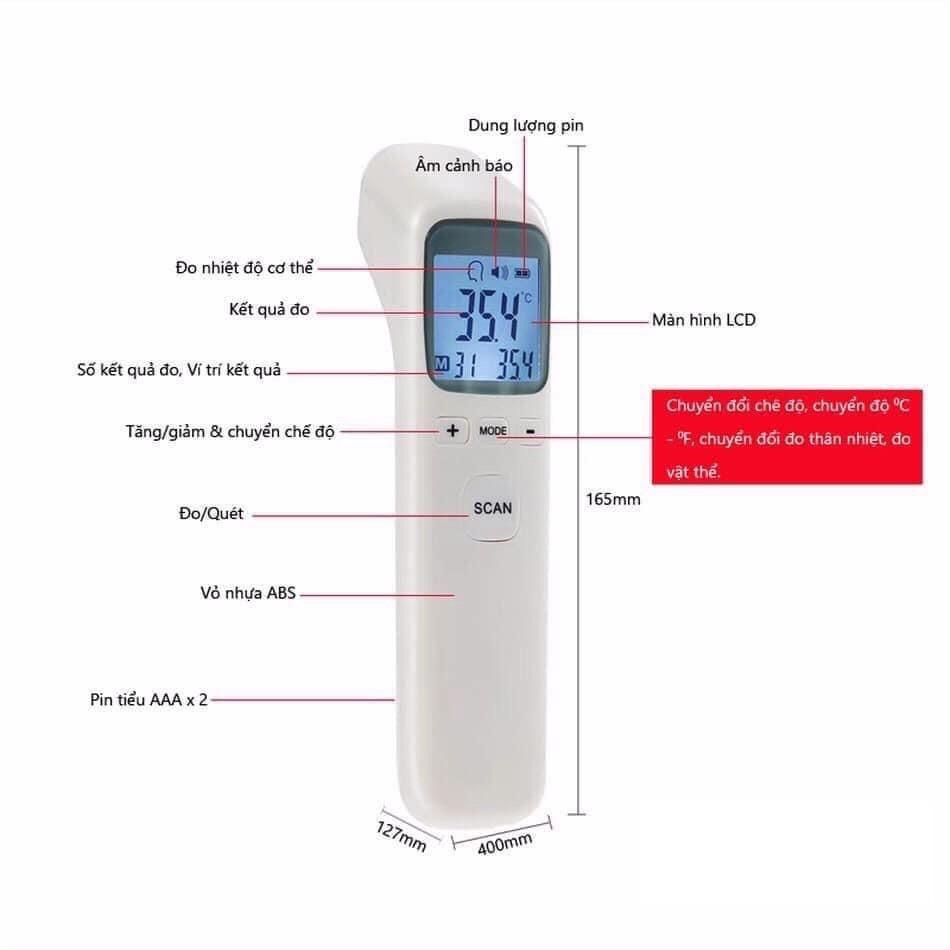Nhiệt kế hồng ngoại đo chính xác qua trán/tai tránh tiếp xúc cho kết qua sau 1 giây màn hình LED hiển thị