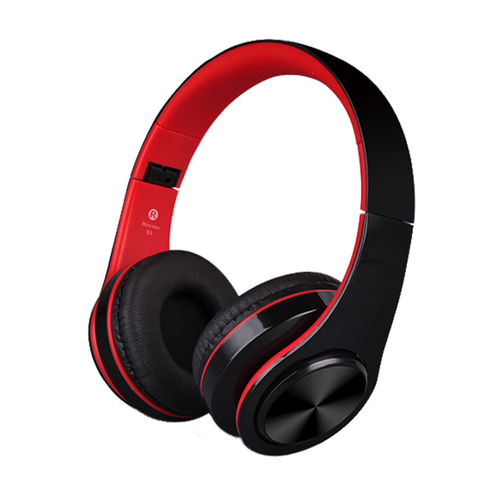 Tai nghe chụp tai cao cấp có khe thẻ nhớ Bluetooth P47 ( đen đỏ) kèm cáp sạc
