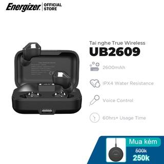 Tai nghe True Wireless Energizer UB2609,Bluetooth V5.0, tích hợp sạc dự phòng 2600mAh, kháng nước IPX4 - Hàng Chính Hãng