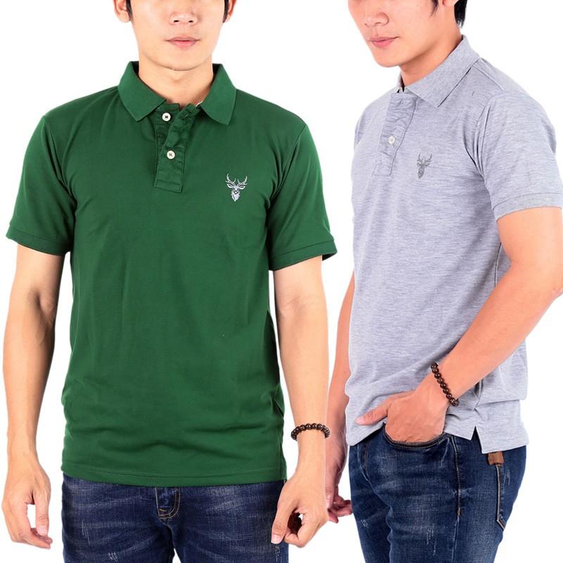 Bộ 2 áo thun nam cổ bẻ chuẩn phong cách Pigofashion PG01 ( rêu, xám)
