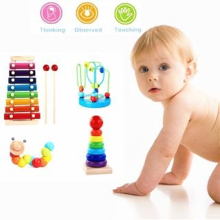 DE❀Montessori Wooden Toys Childhood Learning Toy Baby Colorful Wooden Blocks