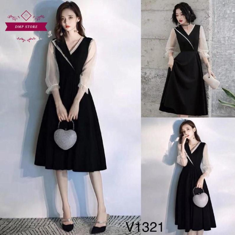 4724079371 - (Hàng thiết kế) Váy đầm tiểu thư cổ chéo SKU 0321 thiết kế