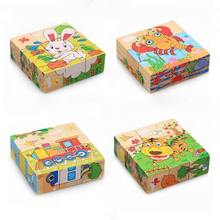 Kids Toys Wooden Puzzle Toys 6 Sides Jigsaw Early Learning Toys Xmas Gifts