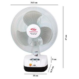 [Mã ELMS5 giảm 7% đơn 300K] Quạt Sạc 1 bình và 2 bình Kiêm Đèn sạc Honjianda HJD - FL 301 LED (trắng)