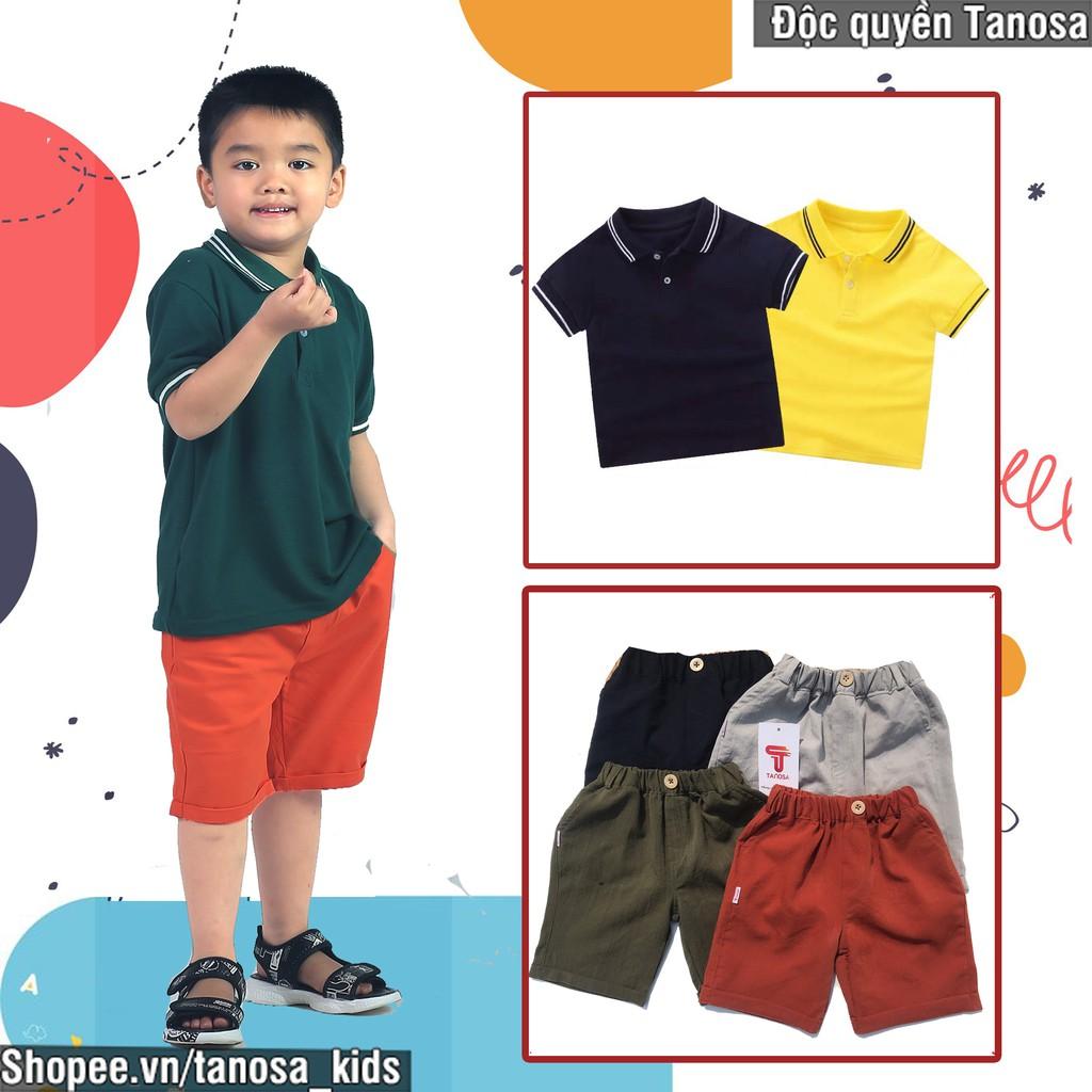 Bộ đồ bé trai áo polo cotton có cổ kèm quần short đũi, set đồ cộc tay cho  bé đi học đi chơi mùa hè Tanosa Kids giá cạnh tranh