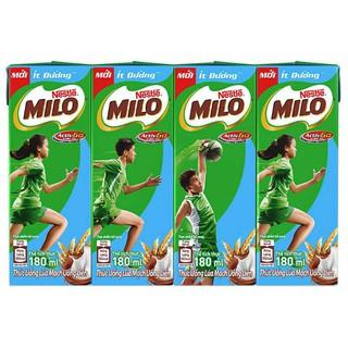 lốc 4 hộp sữa milo ít đường 180ml