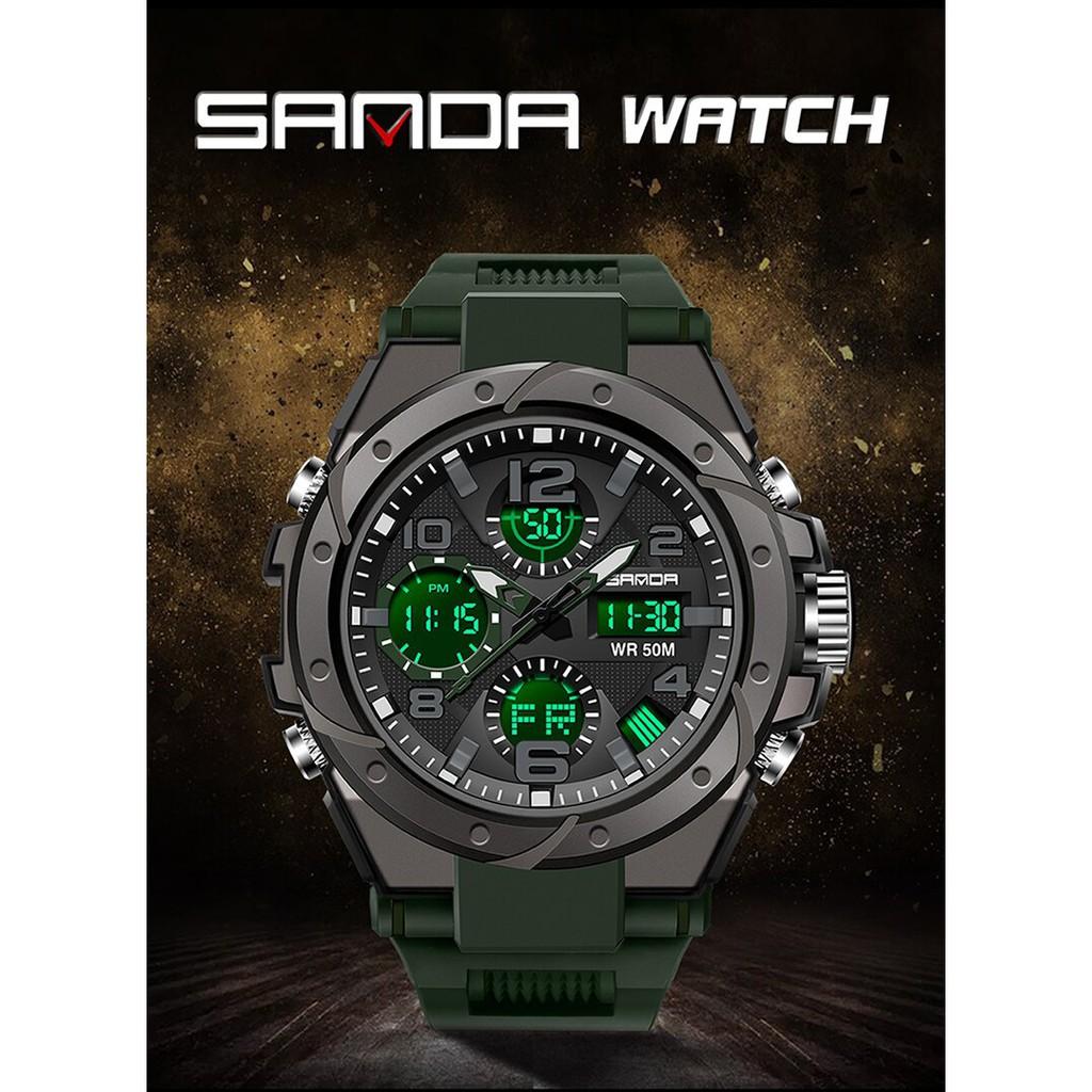 Đồng hồ Nam SANDA BROCK Chuẩn Bền Quân Đội, 2 Máy Chạy Song Song, Chống Nước Rất Tốt