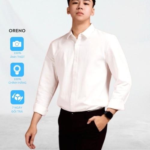 Áo sơ mi nam tay dài form ôm Oreno trơn vải lụa mềm mát thời trang phong cách công sở thời thượng và cá tính