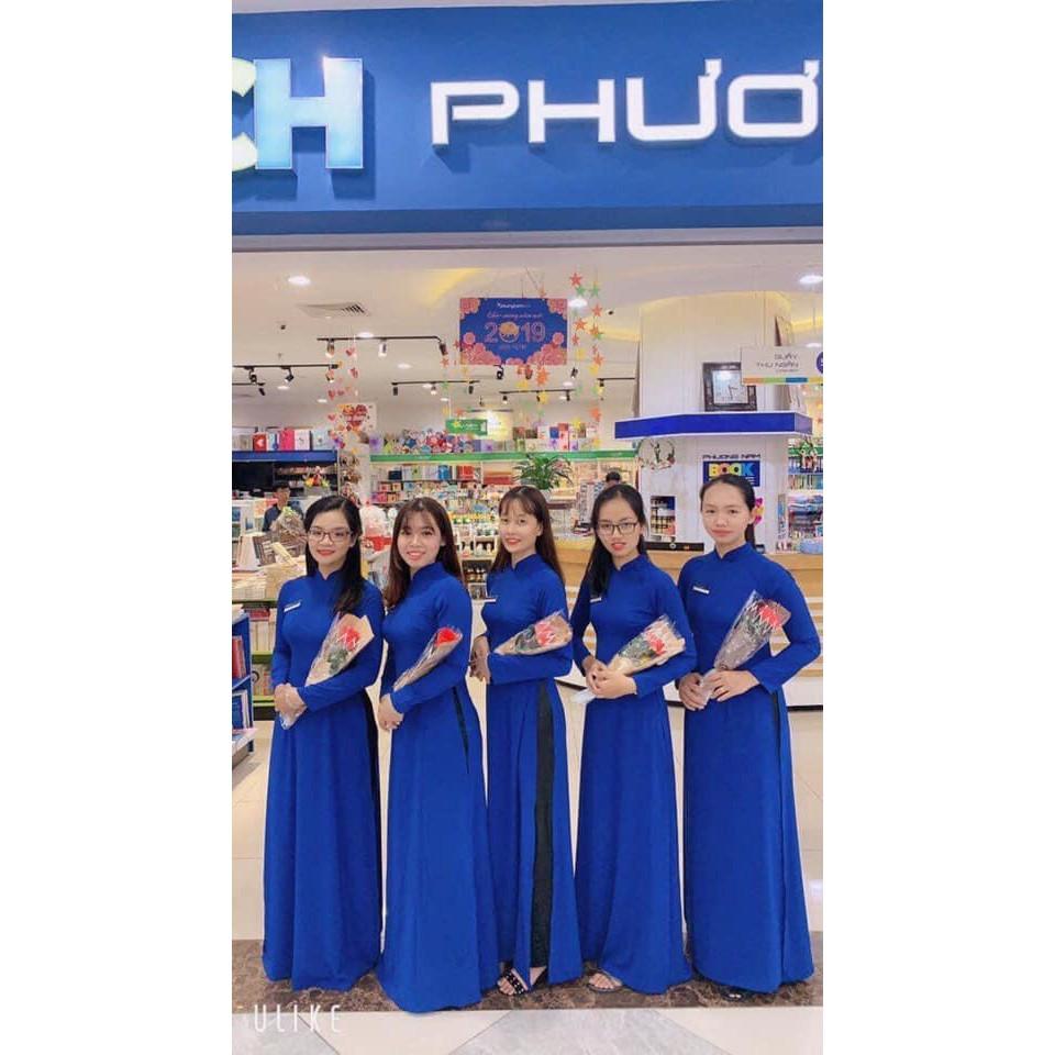 Áo dài xanh coban_Chaang_May sẵn áo dài truyền thống, vải áo dài lụa xanh bích