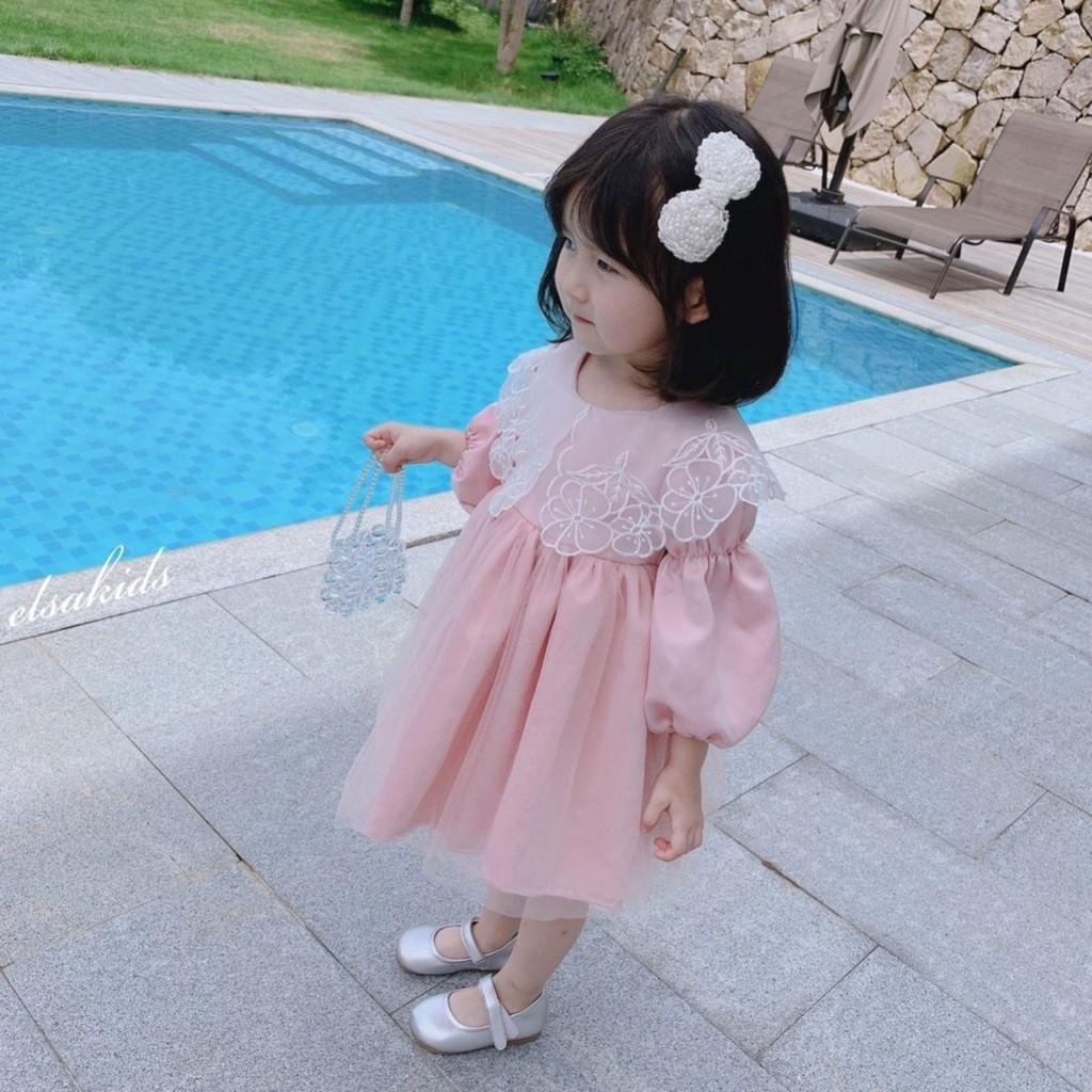 Váy hồng cổ ren hoa mai bé gái
