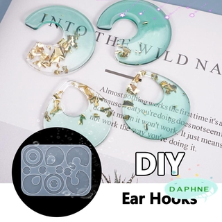 DAPHNE Handmade Ear Hooks UV Epoxy Pendant Silicone Mould Earrings Resin Mold DIY Crafts Transparent Irregular|Jewelry Making Tools