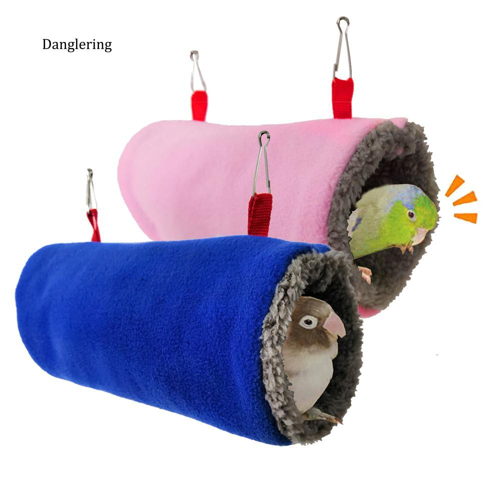 【DGLG】Hamster Parrot Bird Squirrel Pet Tunnel Hammock Soft Plush Cave Cage Hanging Bed