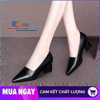 Giày cao gót nữ đẹp đế vuông 5cm hàng hiệu rosata hai màu đen đỏ ro303