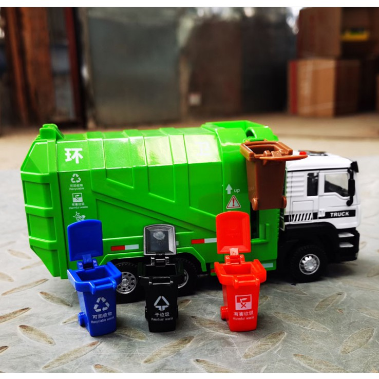 Mô hình xe rác đồ chơi xe chở rác kèm thùng đựng rác