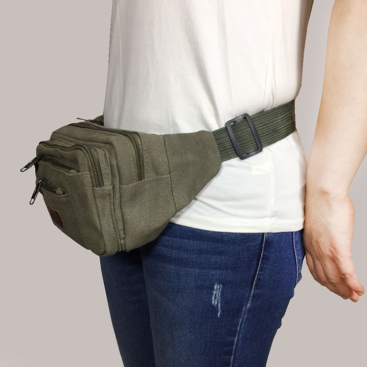 ✐۩❀Wear-resisting canvas large capacity interlayer zipper business cashier more exercise riding big belly band both men