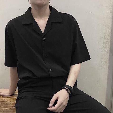 Áo sơ mi Đen Cổ Vest ngắn tay form rộng unisex nam nữ vải lụa