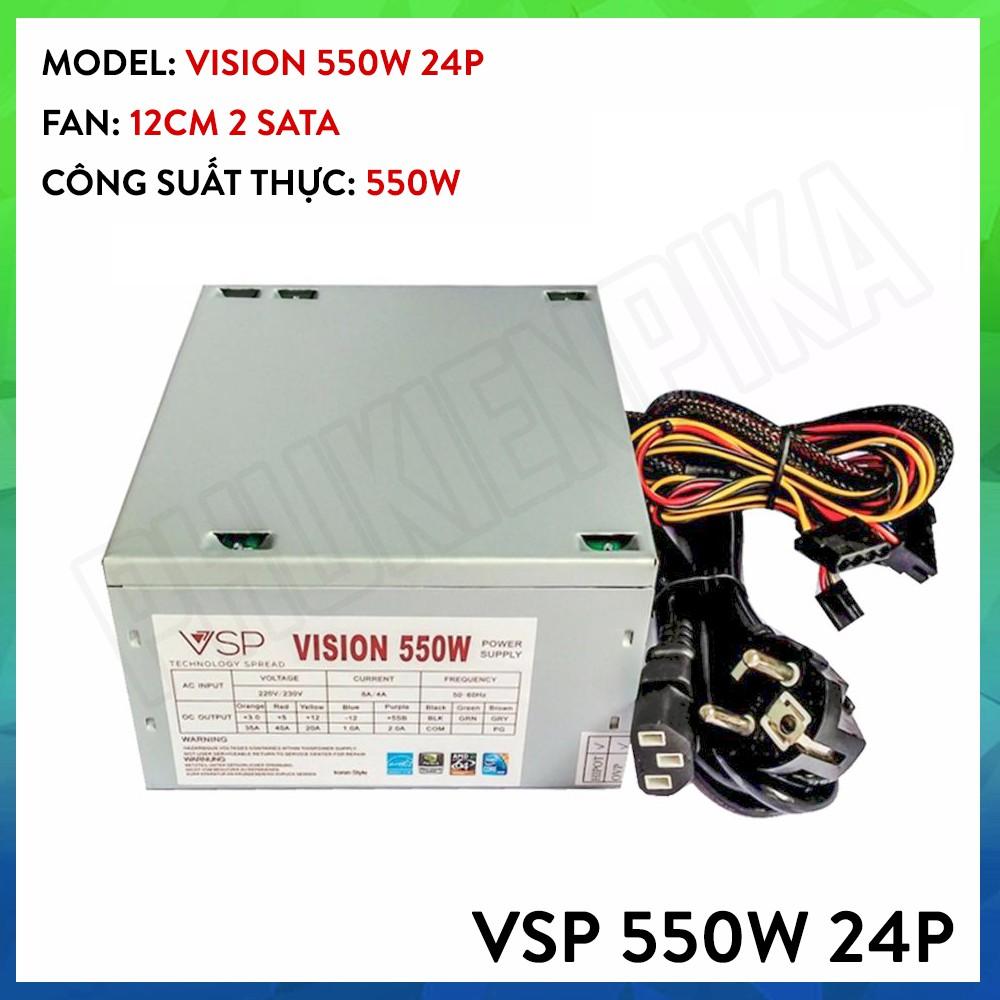 Nguồn máy tính Vision VSP 550W 24P chống nhiễu Bảo hành 3 năm