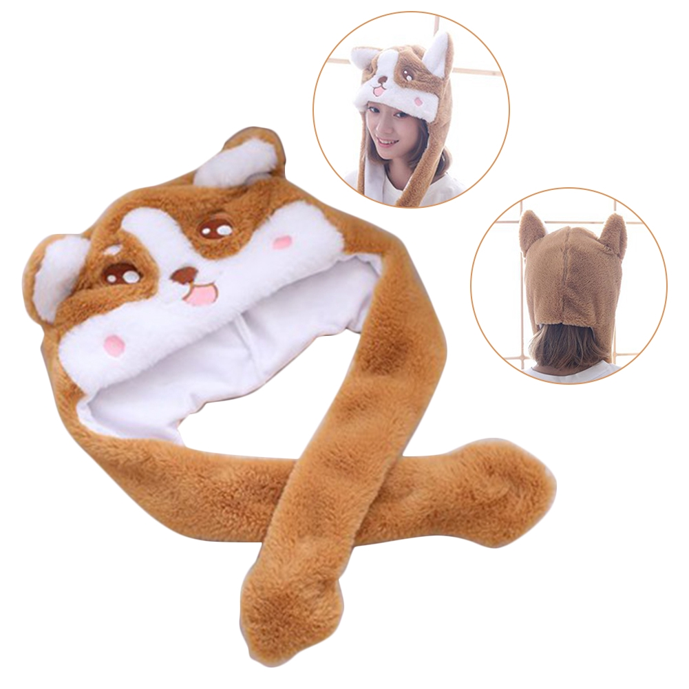 Cartoon Corgi Kids Gifts Airbag Lovely Photography Prop Stuffed Pinching Hat Move Ear Plush Toy Costume Ball Soft Party