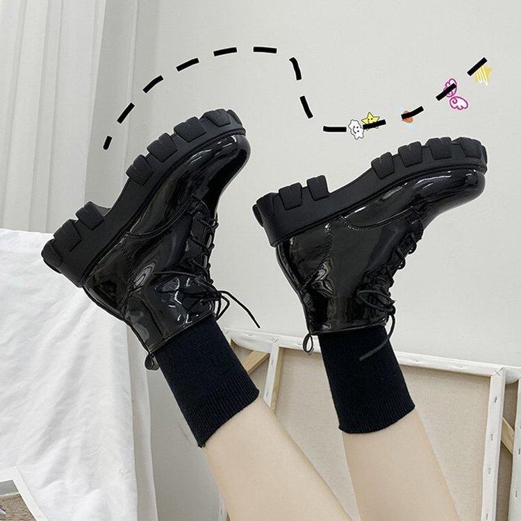 Giày Bốt Martin Gót Vuông Dày Phong Cách Hàn Quốc Cho Nữ